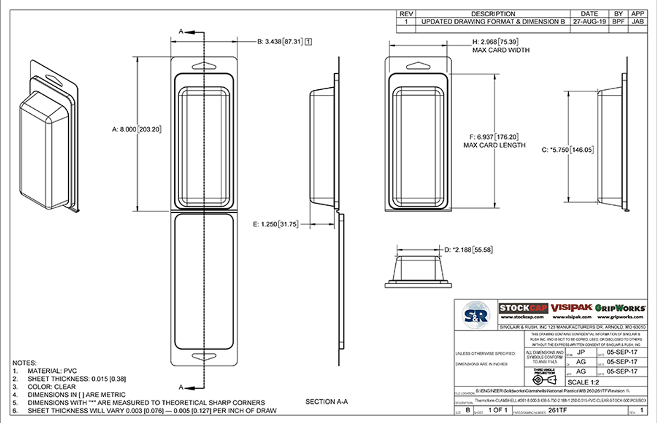 261TF - Stock Clamshell Packaging Technical Drawing