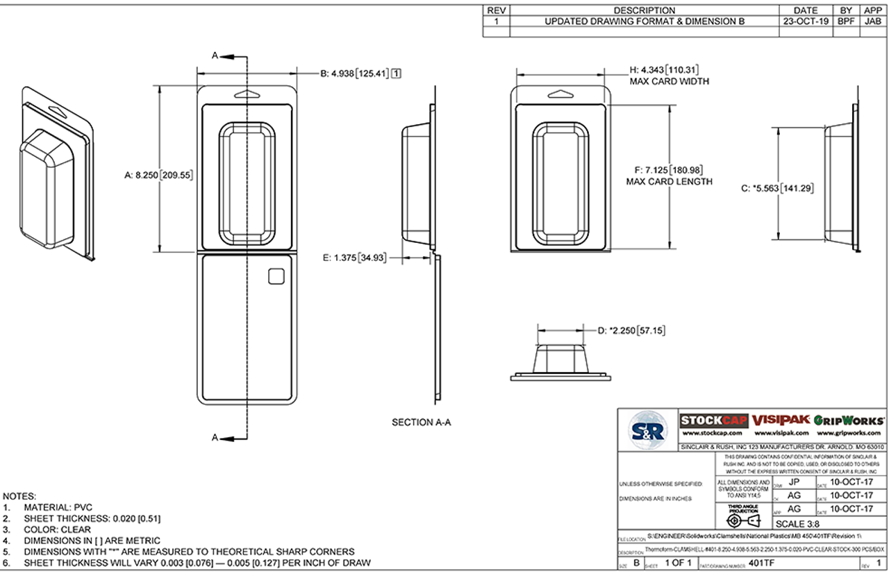 401TF - Stock Clamshell Packaging Technical Drawing