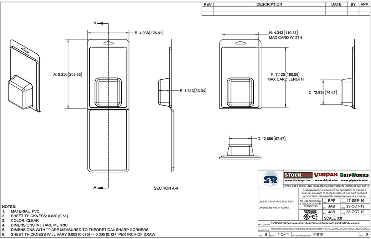 418TF - Stock Clamshell Packaging Technical Drawing