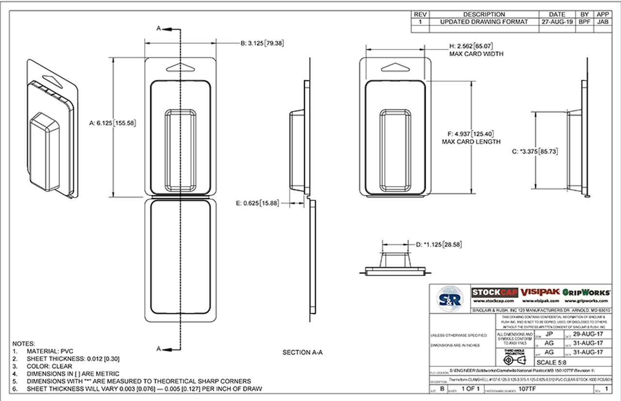 107TF - Stock Clamshell Packaging Technical Drawing