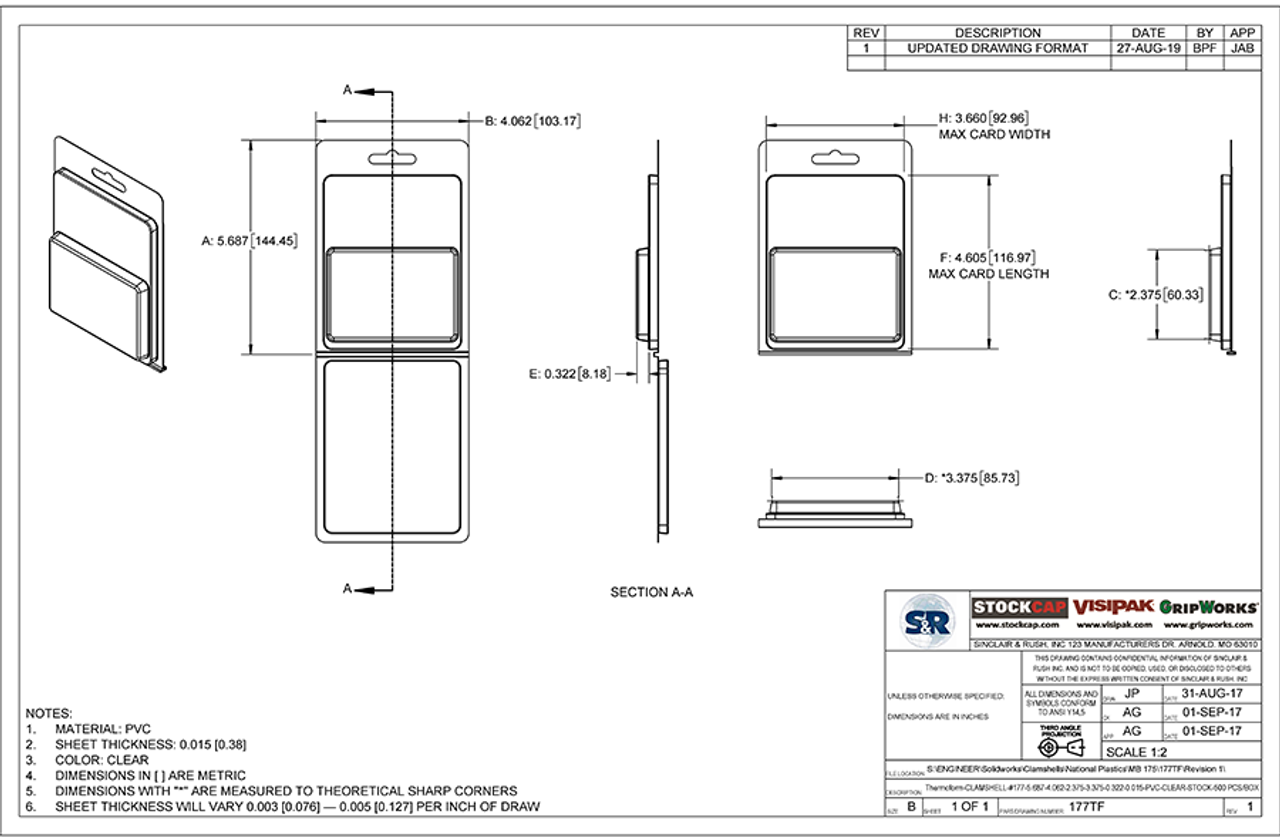177TF - Stock Clamshell Packaging Technical Drawing