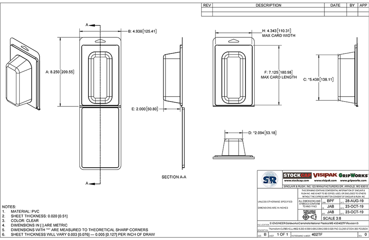 402TF - Stock Clamshell Packaging Technical Drawing