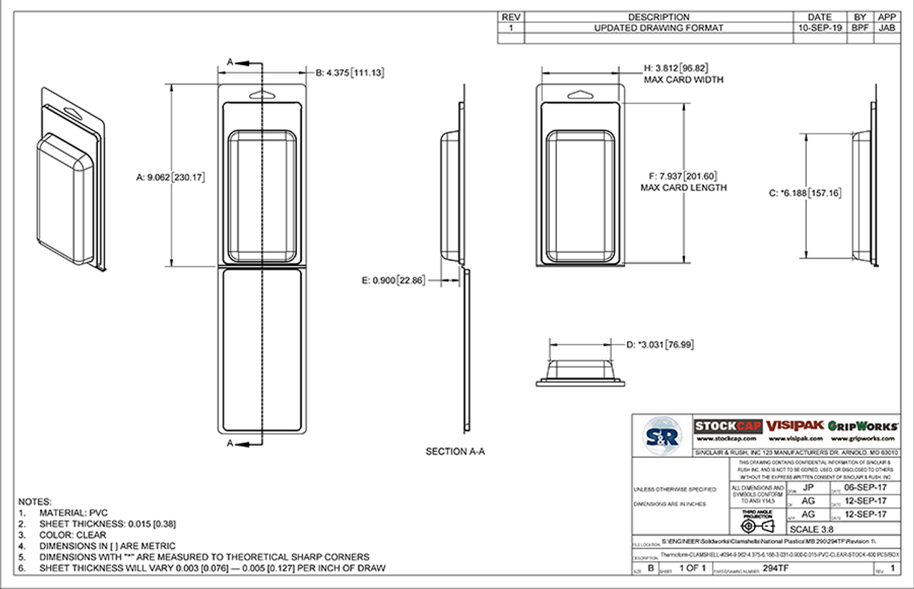 294TF - Stock Clamshell Packaging Technical Drawing