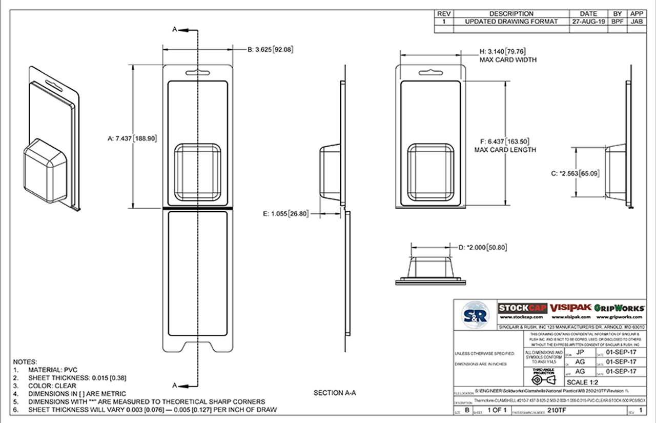 210TF - Stock Clamshell Packaging Technical Drawing
