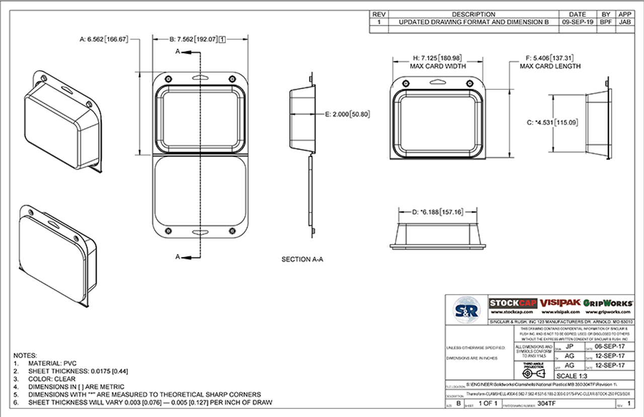 304TF - Stock Clamshell Packaging Technical Drawing