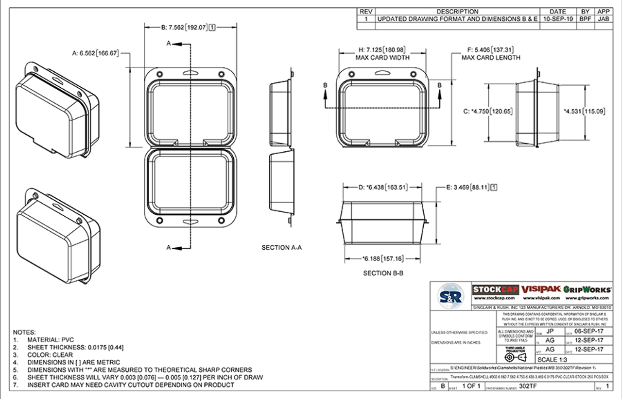 302TF - Stock Clamshell Packaging Technical Drawing