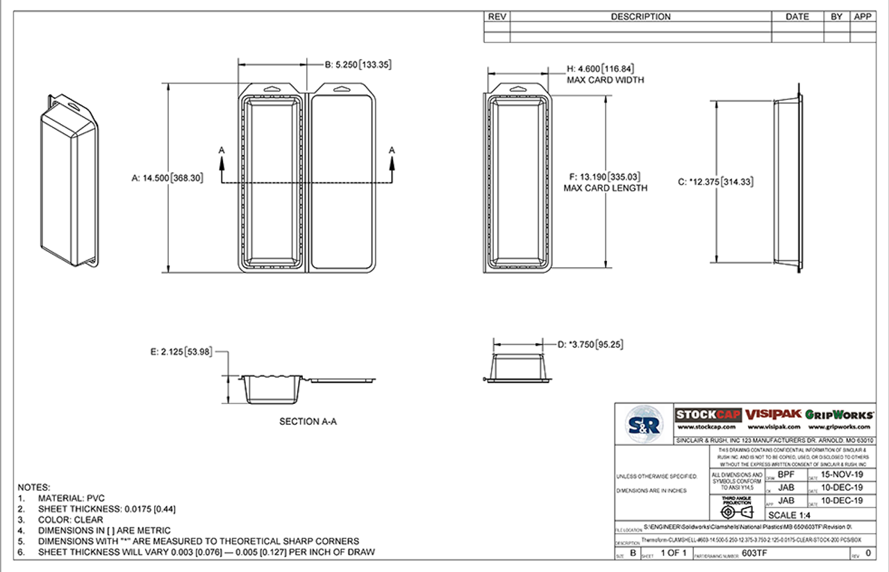 603TF - Stock Clamshell Packaging Technical Drawing