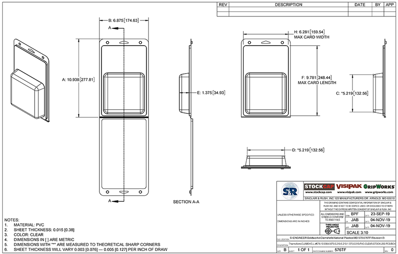 576TF - Stock Clamshell Packaging Technical Drawing