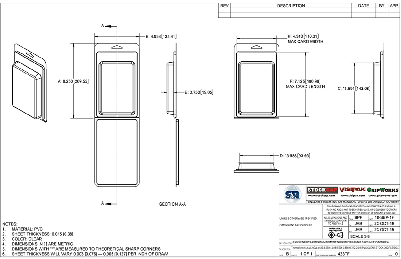 423TF - Stock Clamshell Packaging Technical Drawing
