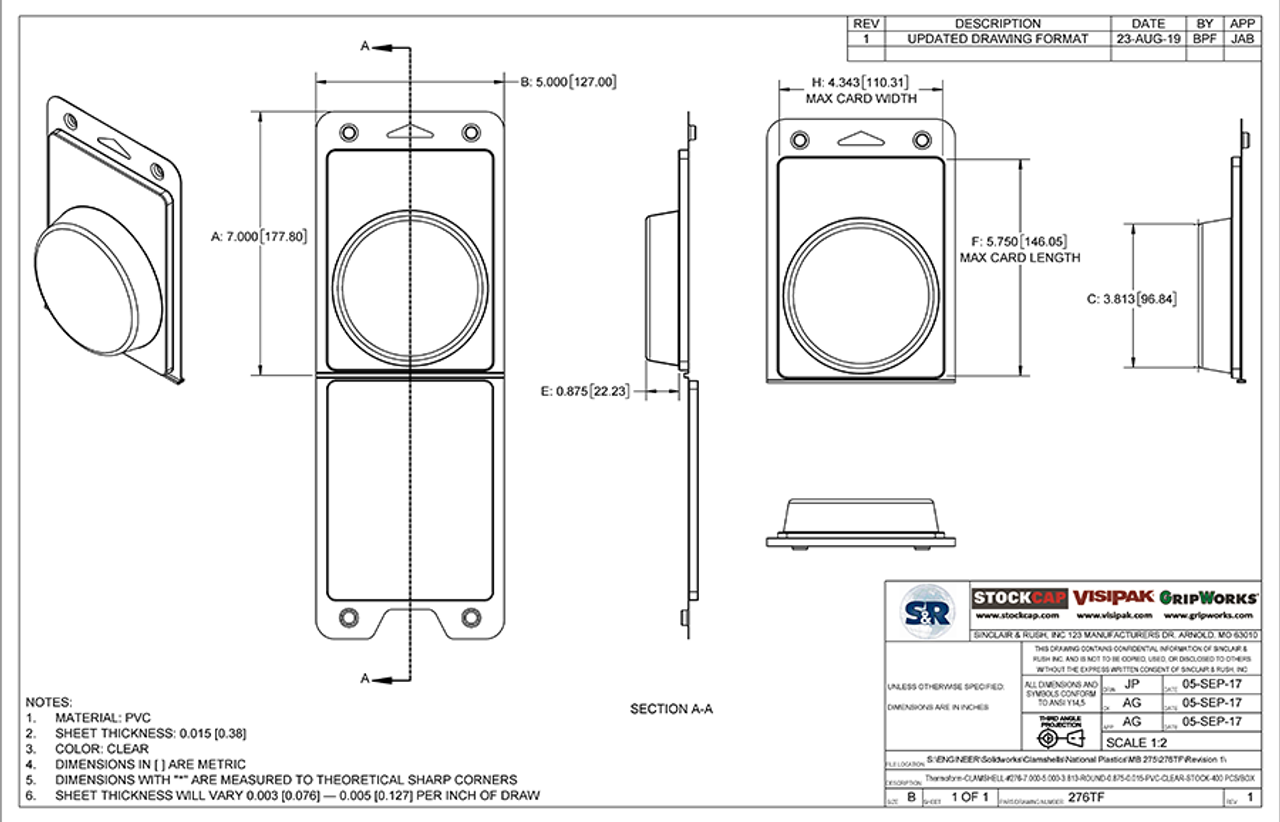 276TF - Stock Clamshell Packaging Technical Drawing