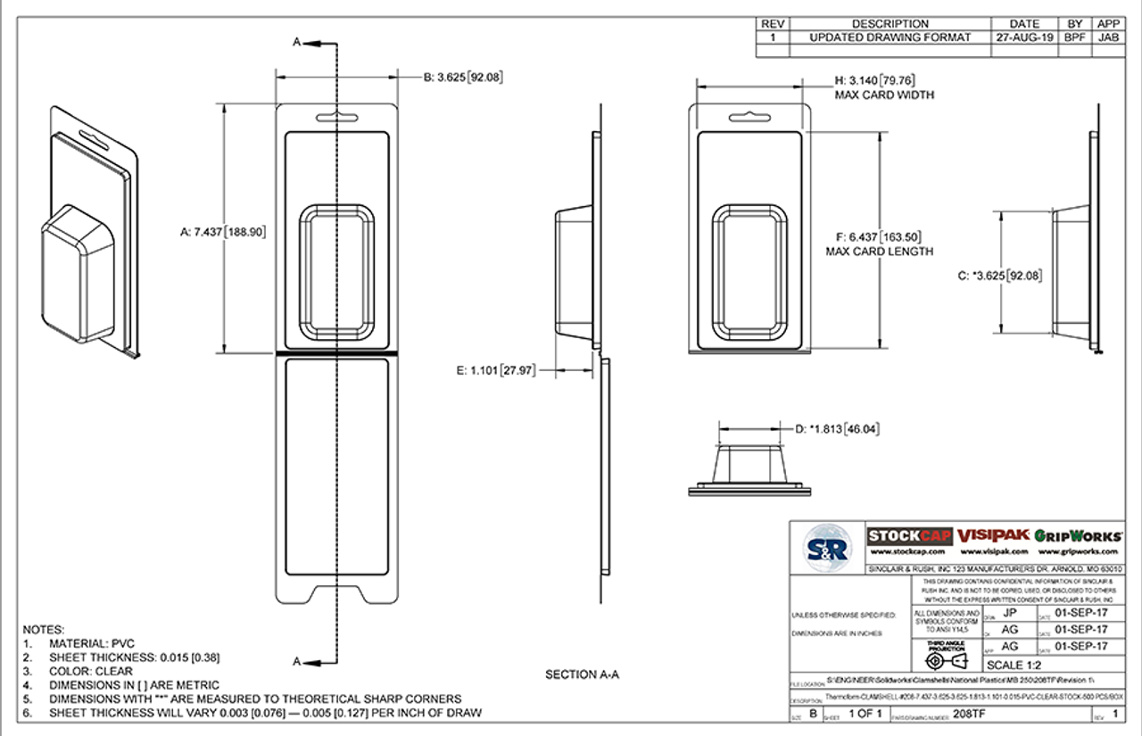 208TF - Stock Clamshell Packaging Technical Drawing