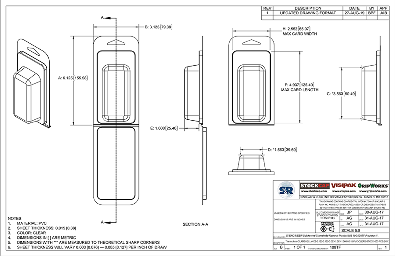 108TF - Stock Clamshell Packaging Technical Drawing
