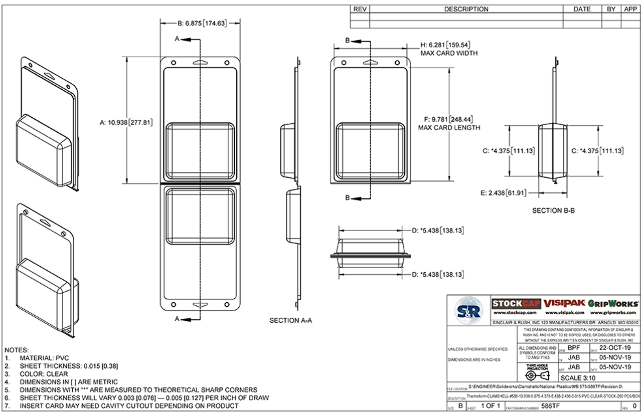 586TF - Stock Clamshell Packaging Technical Drawing