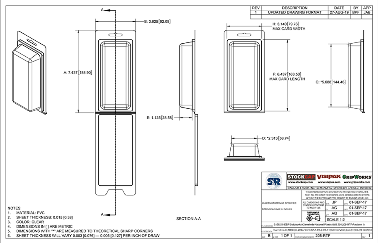205-RTF - Stock Clamshell Packaging Technical Drawing