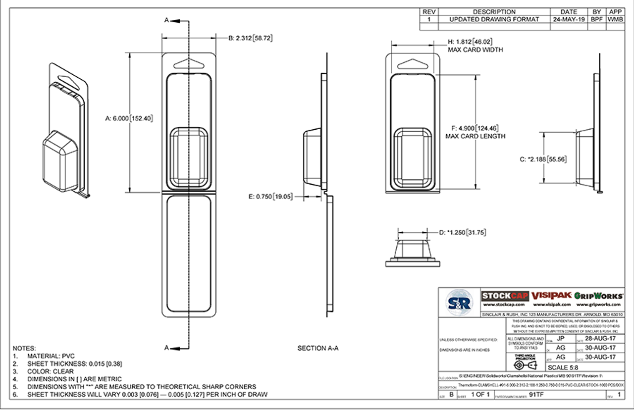 91TF - Stock Clamshell Packaging Technical Drawing