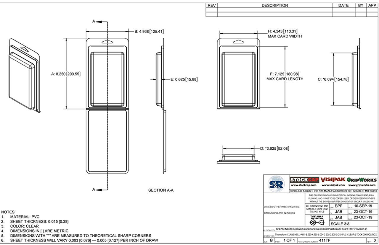 411TF - Stock Clamshell Packaging Technical Drawing