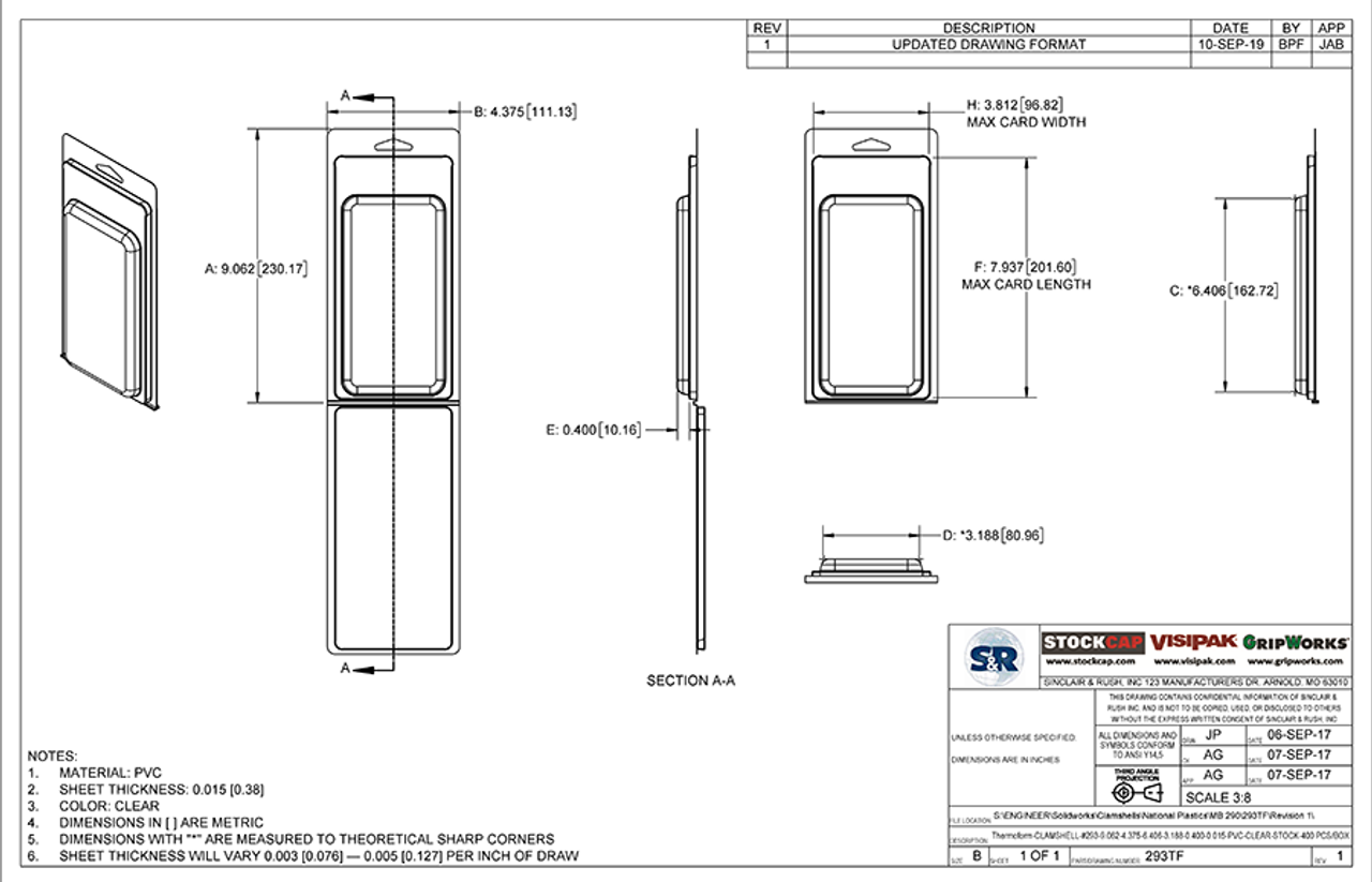 293TF - Stock Clamshell Packaging Technical Drawing