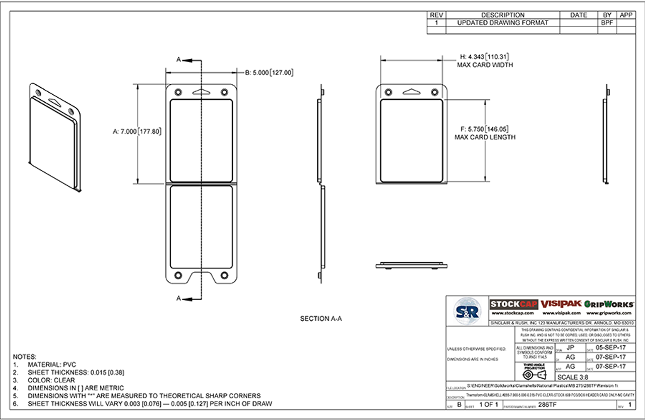 286TF - Stock Clamshell Packaging Technical Drawing