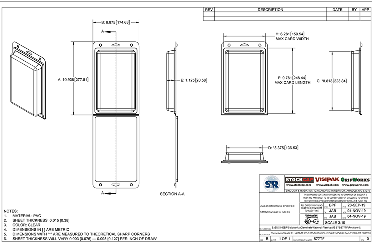 577TF - Stock Clamshell Packaging Technical Drawing