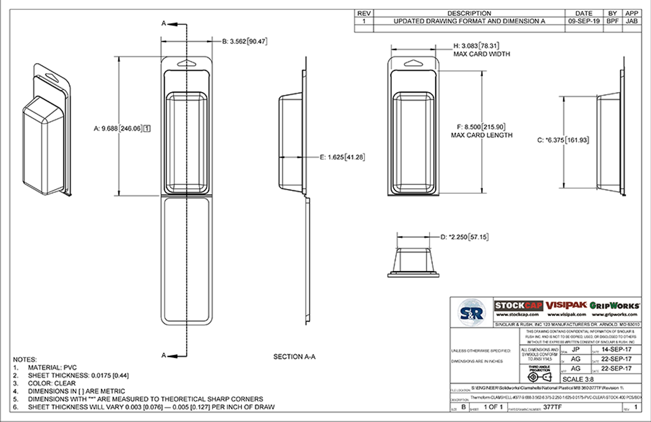 377TF - Stock Clamshell Packaging Technical Drawing
