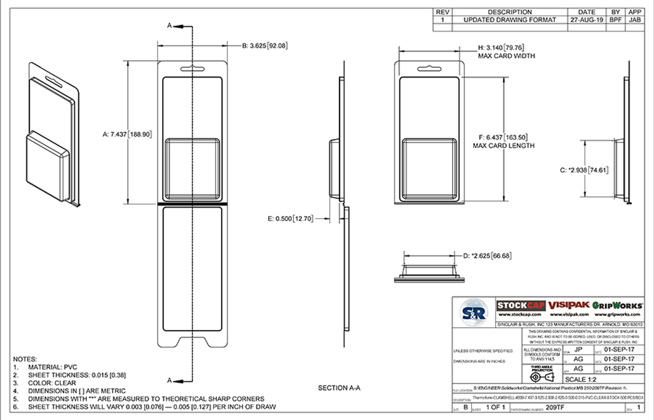 209TF - Stock Clamshell Packaging Technical Drawing