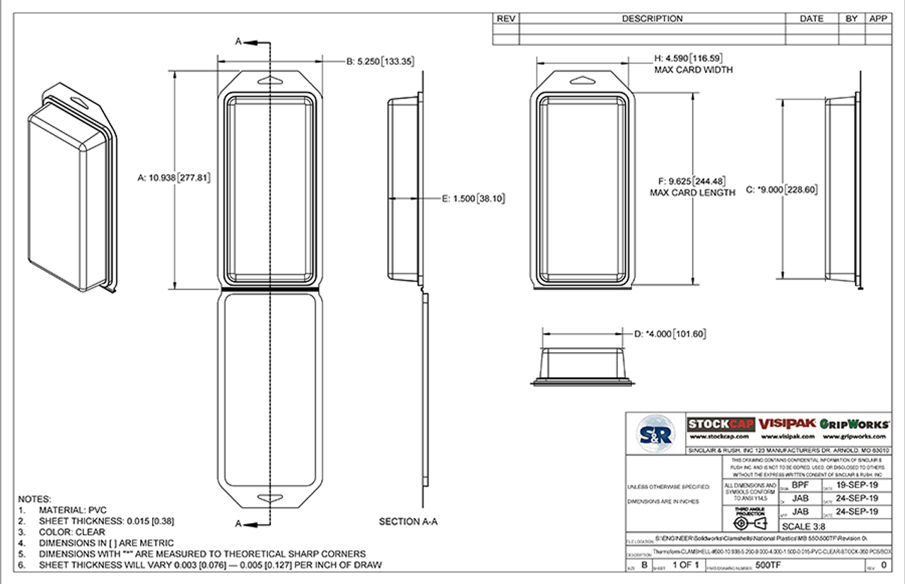 500TF - Stock Clamshell Packaging Technical Drawing