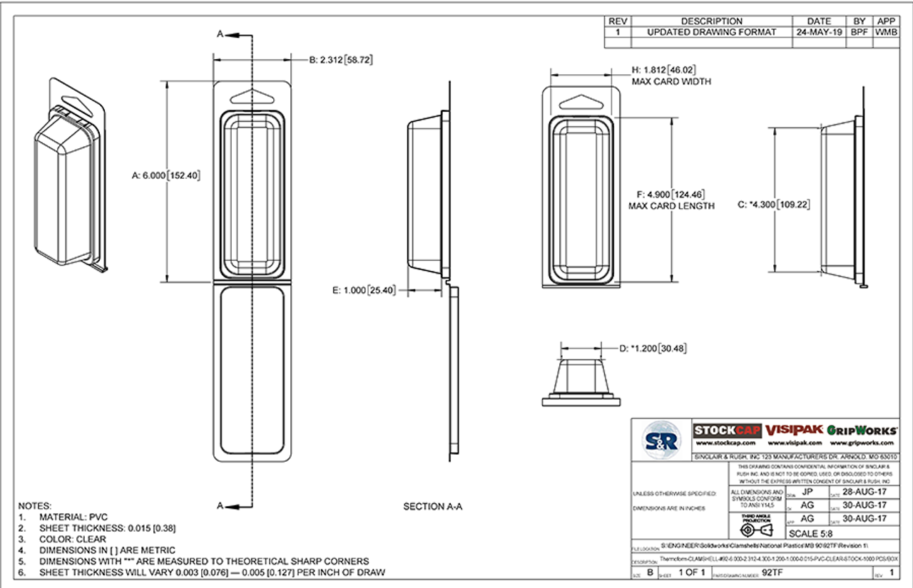 92TF - Stock Clamshell Packaging Technical Drawing