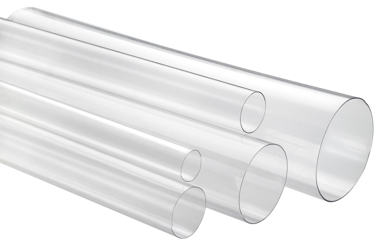 "1-5/8"" x 4' Thin Wall Round Clear Plastic Tube"