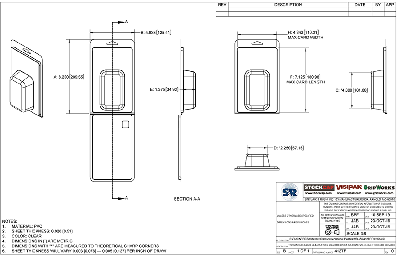 412TF - Stock Clamshell Packaging Technical Drawing