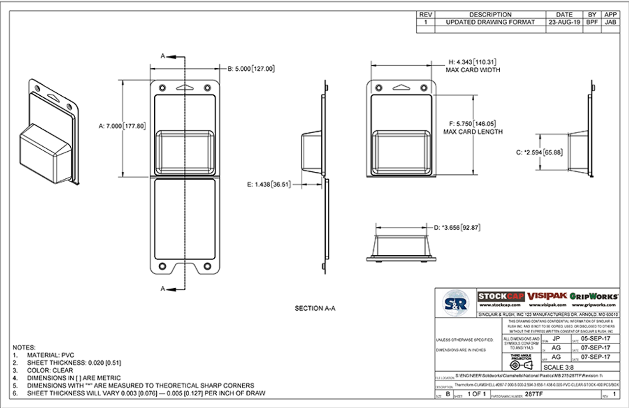 287TF - Stock Clamshell Packaging Technical Drawing