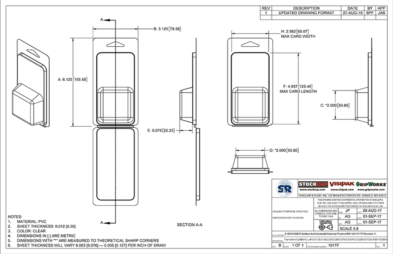 101TF - Stock Clamshell Packaging Technical Drawing