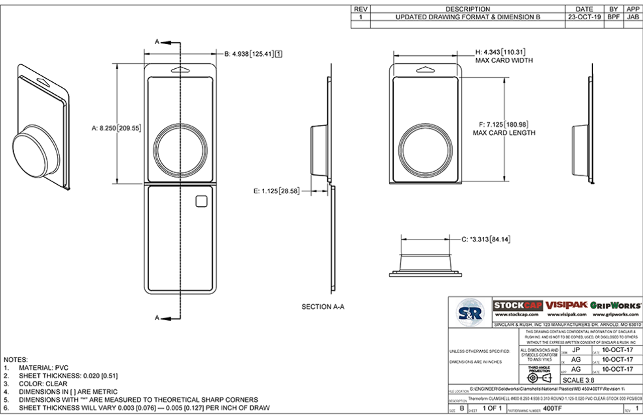400TF - Stock Clamshell Packaging Technical Drawing