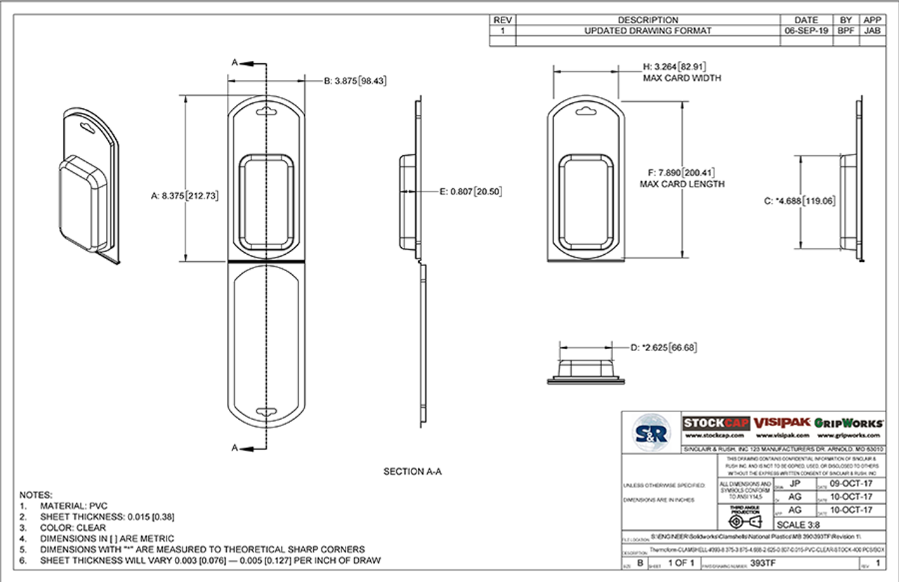 393TF - Stock Clamshell Packaging Technical Drawing