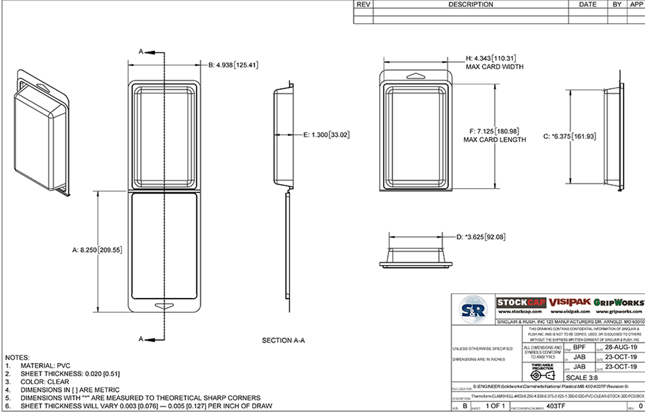 403TF - Stock Clamshell Packaging Technical Drawing