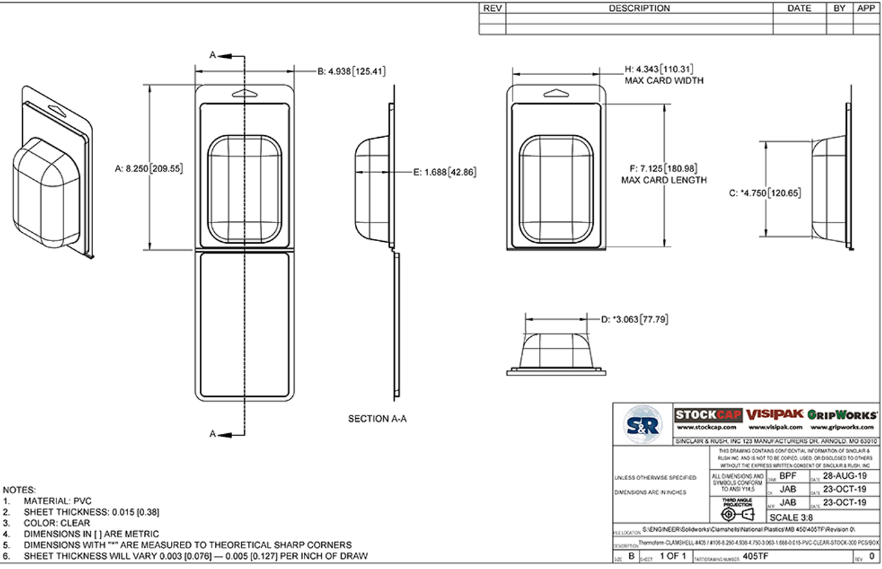 405TF - Stock Clamshell Packaging Technical Drawing