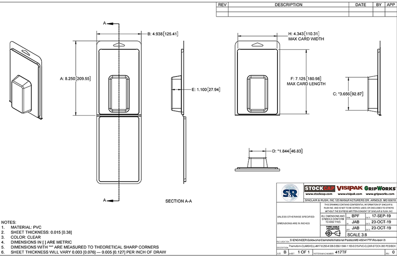 417TF - Stock Clamshell Packaging Technical Drawing