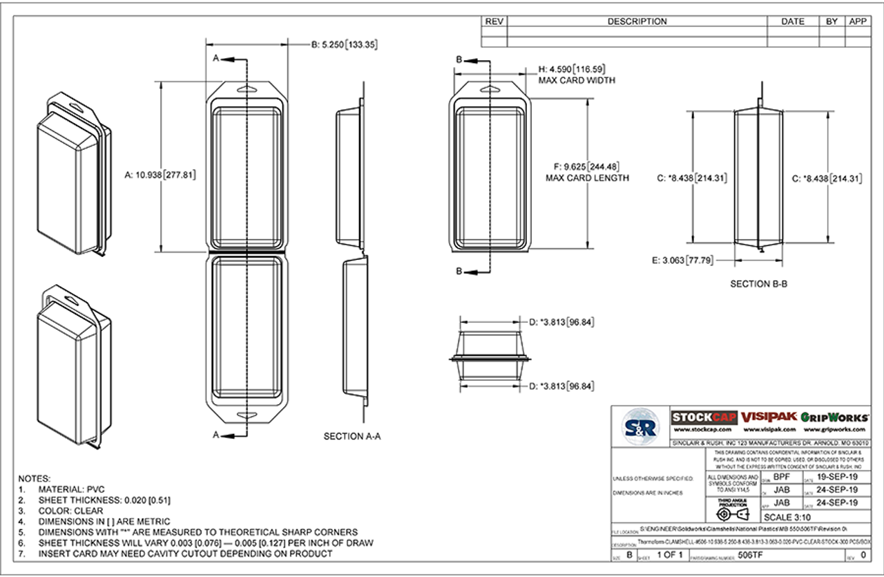 506TF - Stock Clamshell Packaging Technical Drawing