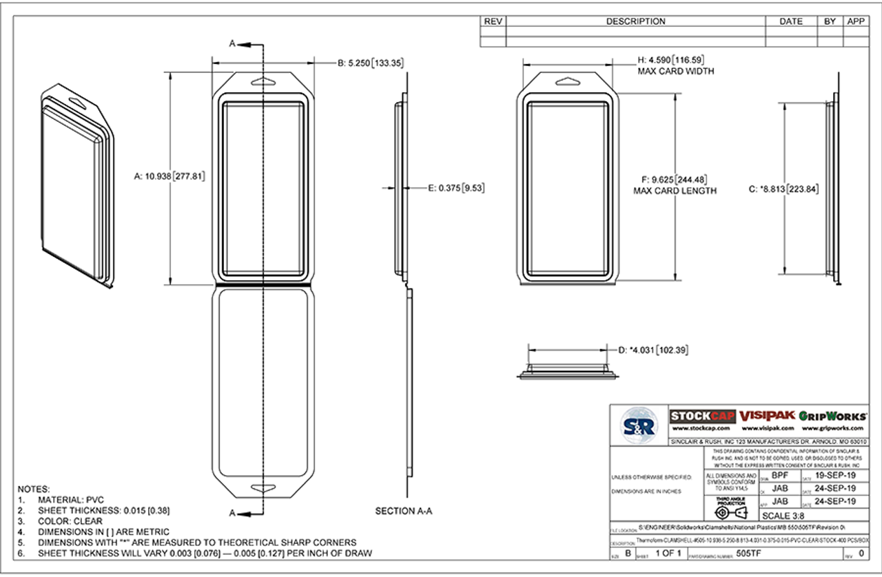 505TF - Stock Clamshell Packaging Technical Drawing