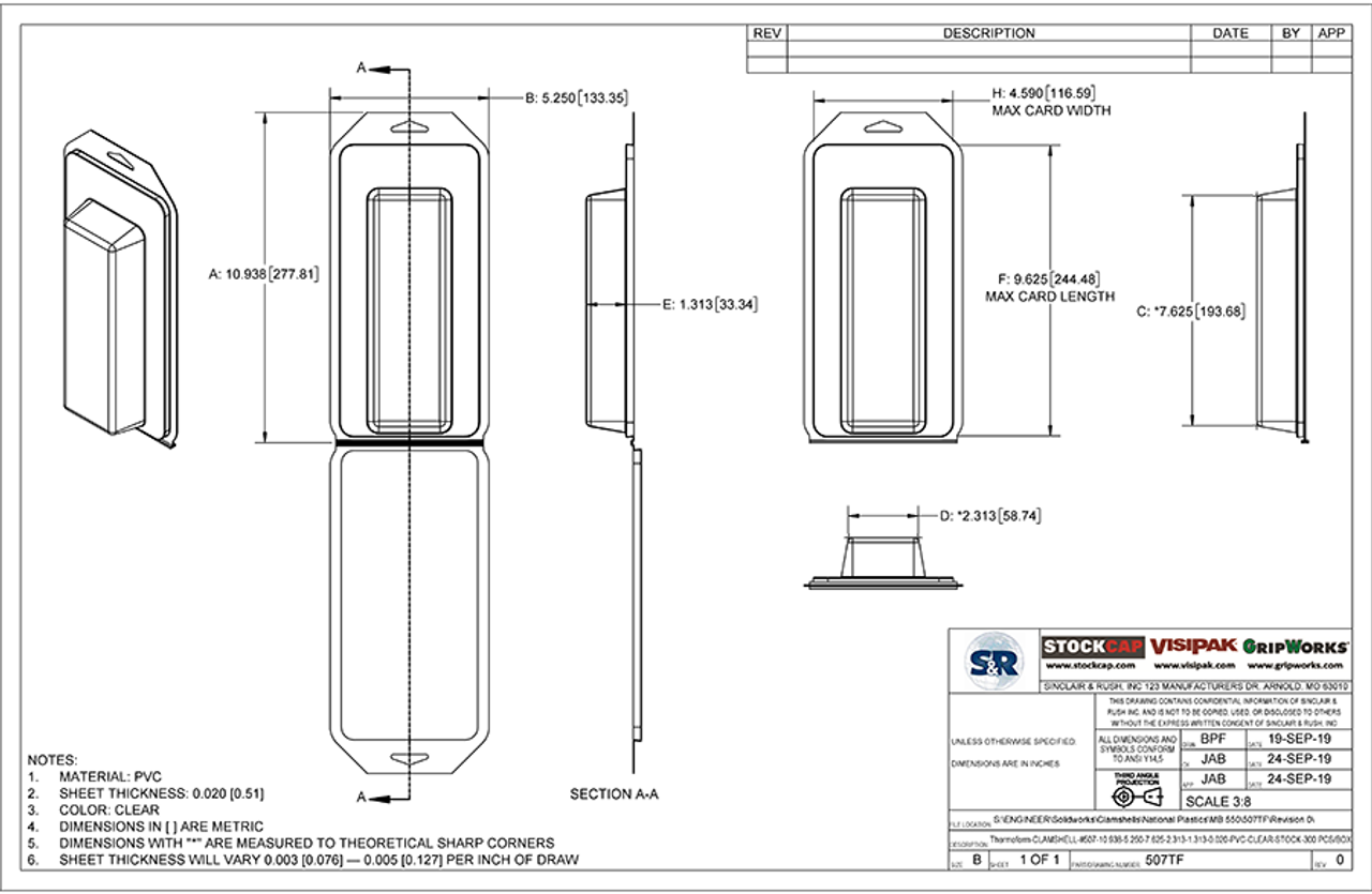 507TF - Stock Clamshell Packaging Technical Drawing