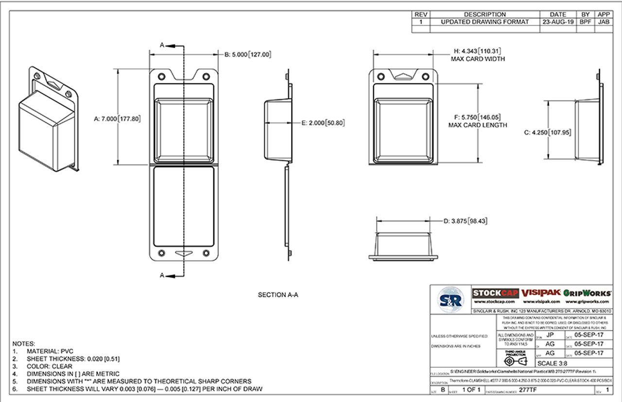 277TF - Stock Clamshell Packaging Technical Drawing