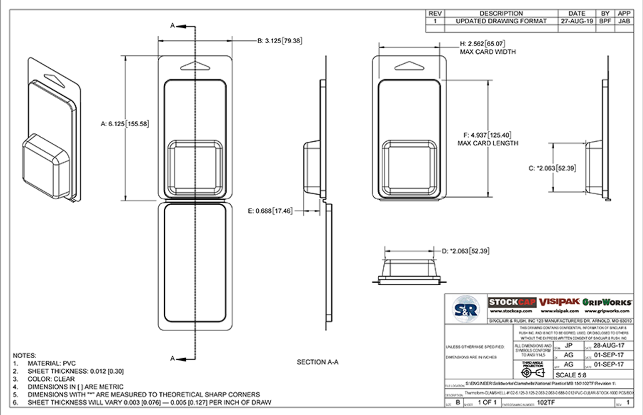 102TF - Stock Clamshell Packaging Technical Drawing