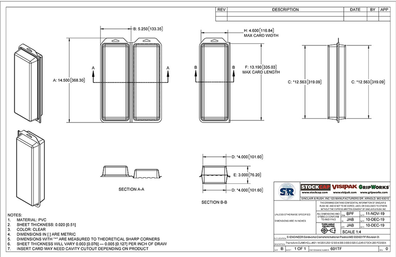 601TF - Stock Clamshell Packaging Technical Drawing