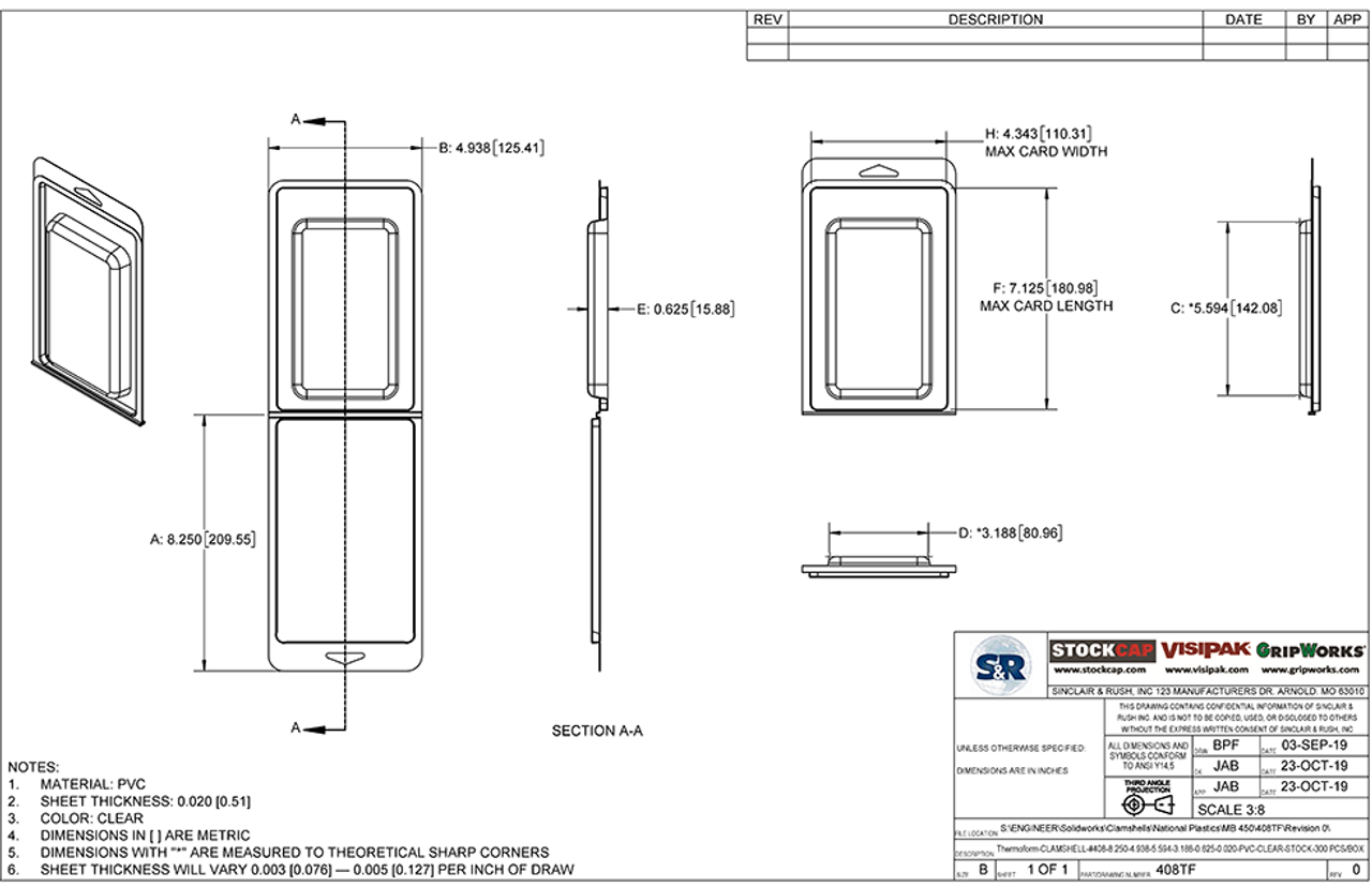 408TF - Stock Clamshell Packaging Technical Drawing