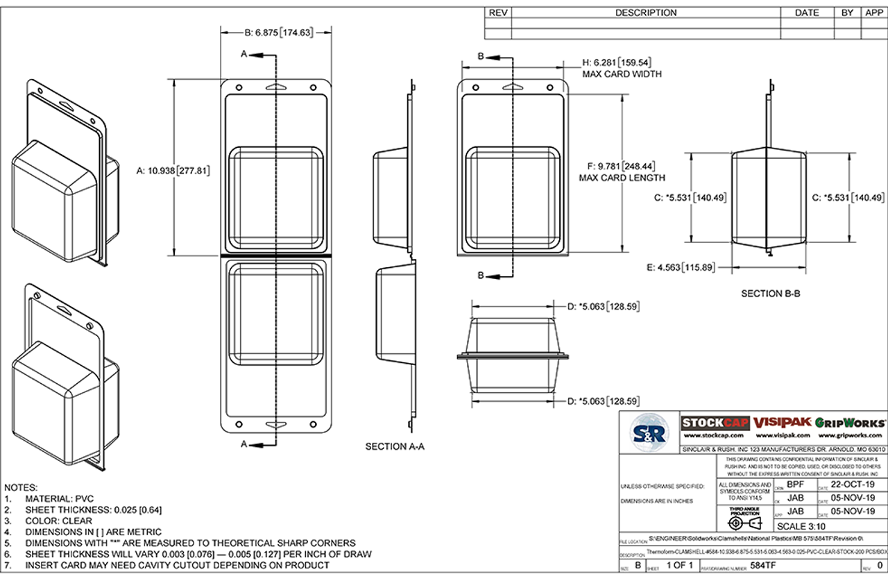 584TF - Stock Clamshell Packaging Technical Drawing