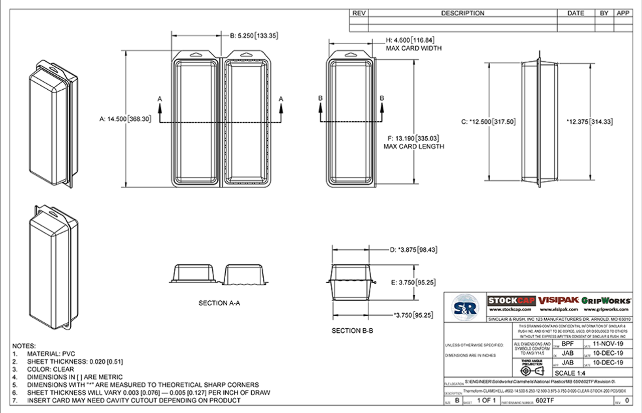 602TF - Stock Clamshell Packaging Technical Drawing