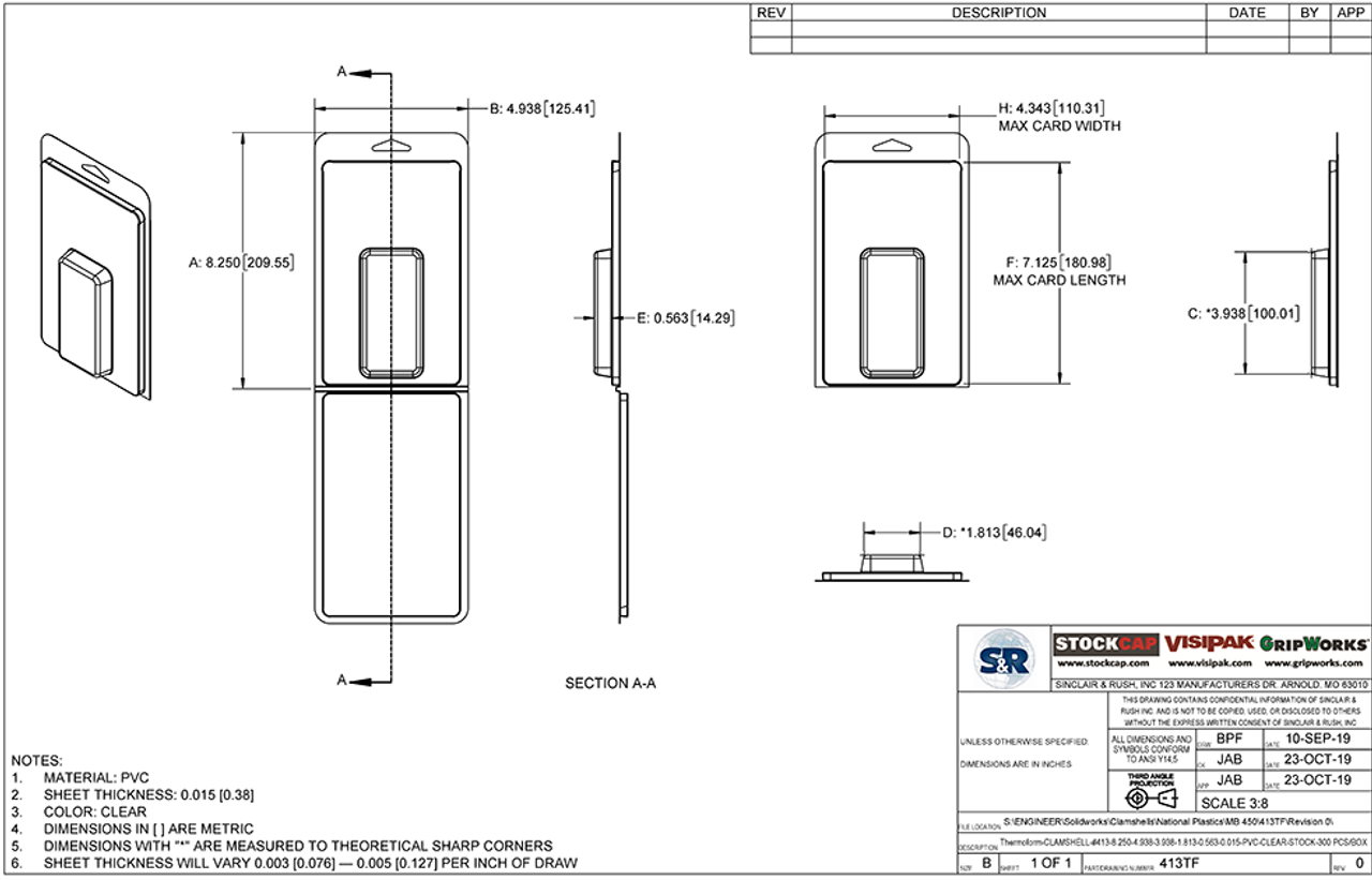413TF - Stock Clamshell Packaging Technical Drawing