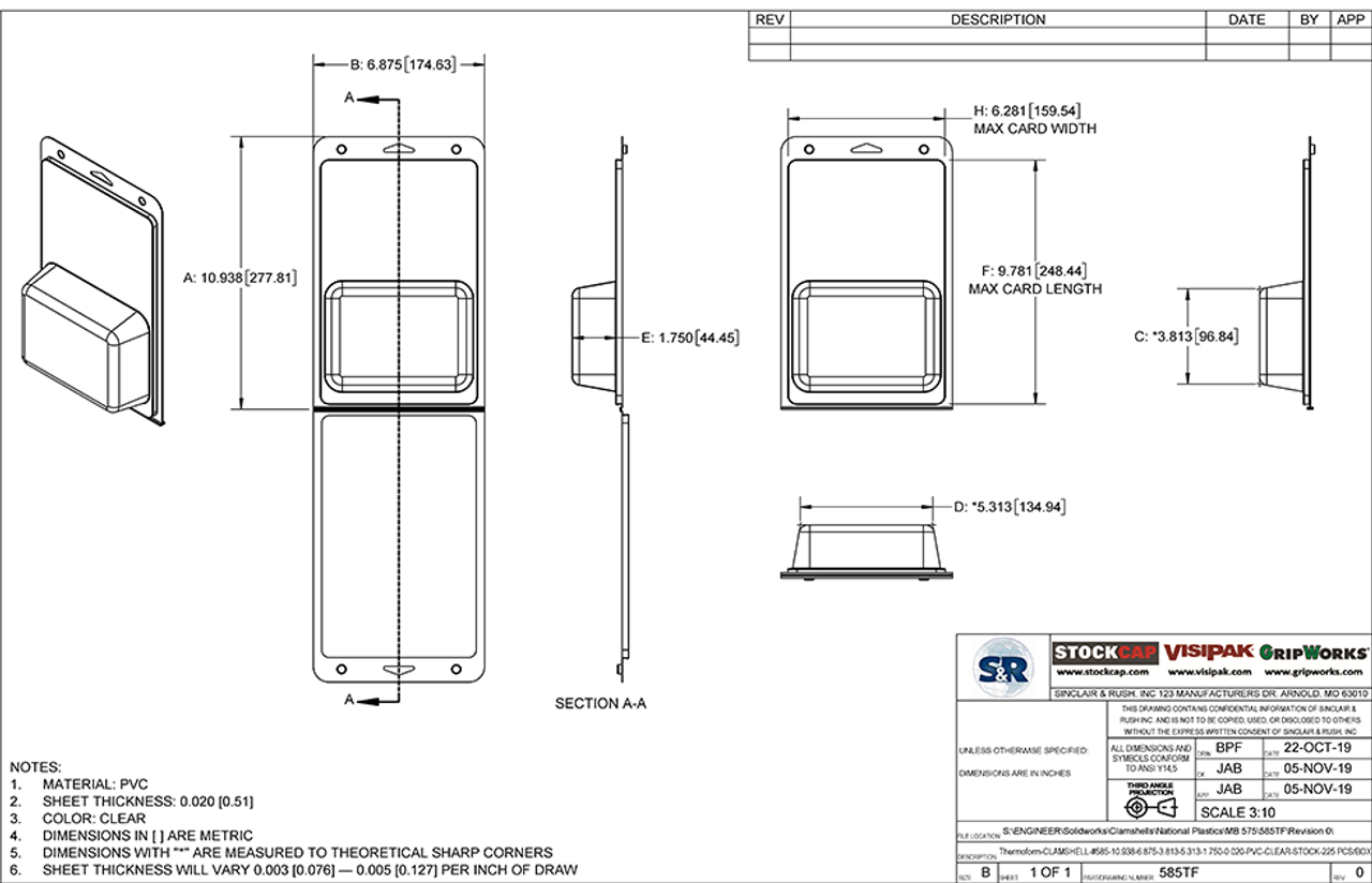 585TF - Stock Clamshell Packaging Technical Drawing