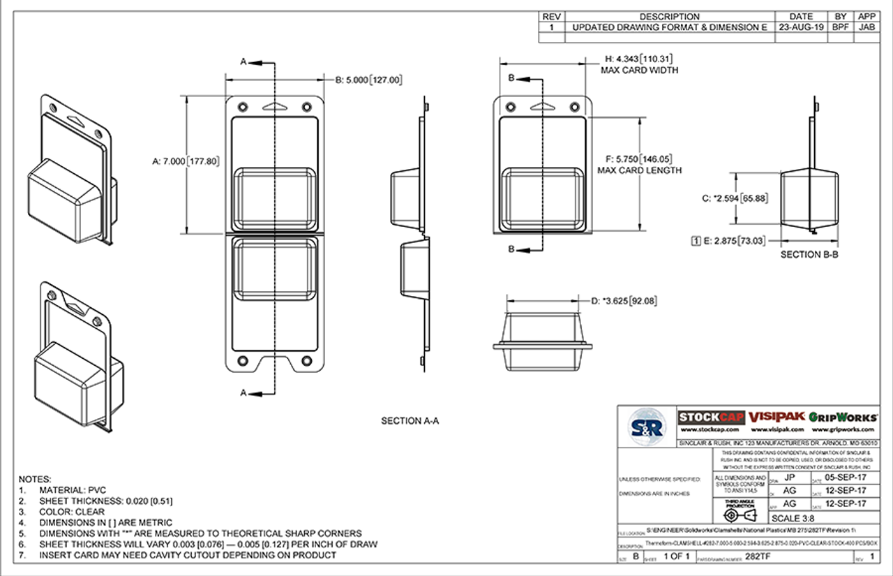 282TF - Stock Clamshell Packaging Technical Drawing