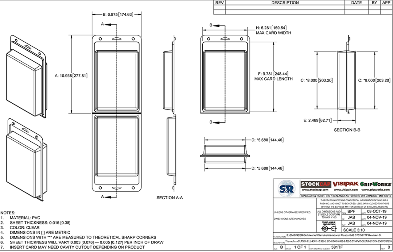 581TF - Stock Clamshell Packaging Technical Drawing