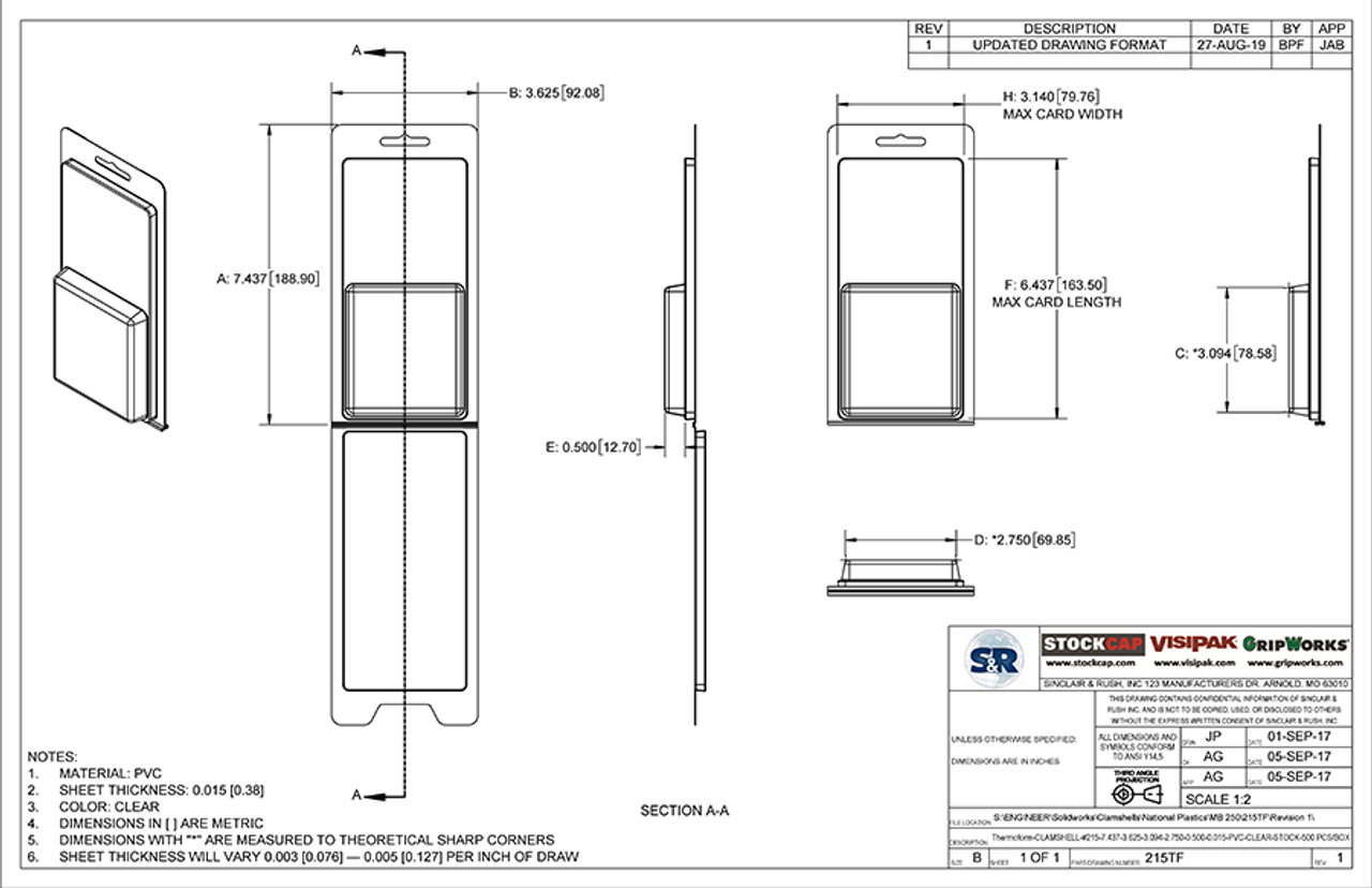 215TF - Stock Clamshell Packaging Technical Drawing